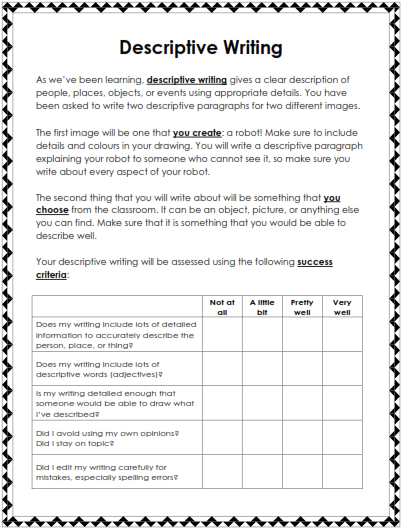 Descriptive Writing - Teaching Ideas